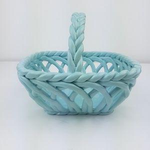 Grace's Pantry Hand Woven Blue Ceramic Basket